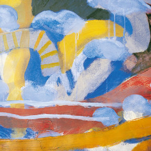 Bird-wings-sound-in-yellow-evening,-mixed-media-on-paper,-490mm-x-640mm,-1998