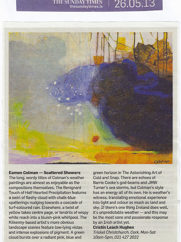 Sunday Times review of exhibition: Eamon Colman - Scattered Showers